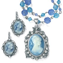 PalmBeach Jewelry Simulated Pearl & Lucite Cameo 2-Pc. Set Antiqued Silvertone - $27.99