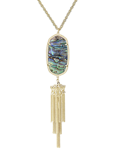 Brand New Kendra Scott Rayne Long Necklace Tassle Abalone Rainbow & Dust... - $77.22