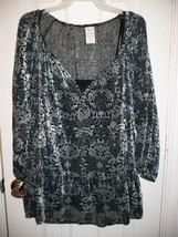 Faded Glory Women's Blouse W Cami Velvet Burnout Large 12-14 Soft Silver... - $14.84
