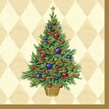 Christmas Spruced Up Gold Tree Luncheon Lunch Napkins 16 ct Party - $9.89