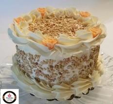 "Fake Carrot Cake  6"" Pretty Faux Cake- w/ Peach Tea Roses - $26.72"