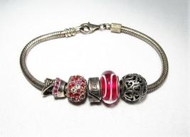 "Chamilia .925 Sterling Silver Red Rhinestone ""Love"" Theme Bead Bracelet C2461 - $47.31"