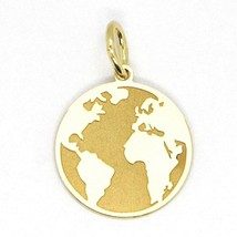 Yellow Gold Pendant 750 18K, Globe Flat, Satin, 16 mm, Italy Made - $152.49