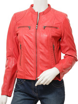 QASTAN Women's New Gorgeous Red Biker Sheep Leather Jacket QWJ30A - $149.00+