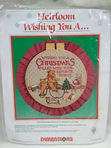 "NEW Dimensions Heirloom Cross Stitch 8356 Wishing You A Christmas 12"" To... - $12.56"