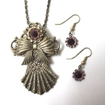 Vintage Angel Brooch Pin Pendant Necklace Earrings Set Purple Rhinestone... - $19.75