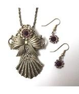 Vintage Angel Brooch Pin Pendant Necklace Earrings Set Purple Rhinestone... - $19.75