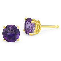 4.00 Carat 8mm 14K YELLOW GOLD FEBRUARY AMETHYST ROUND STUD EARRINGS PUS... - $81.88
