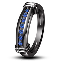 Black Gold Finish 925 Sterling Pure Silver Blue Sapphire Mens Engagement Ring - £67.96 GBP