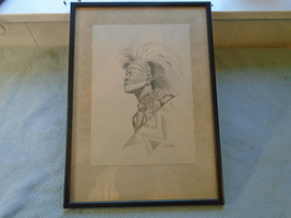 Ref 001  Vintage C E Blyth Pencil Drawing Of Zulu Warrior Male - $34.21