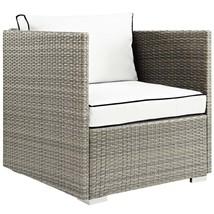 Repose Outdoor Patio Armchair Light Gray White EEI-2960-LGR-WHI - $330.25