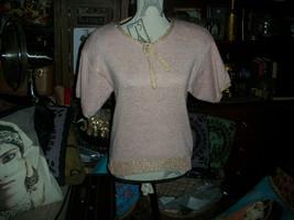 HALSTON lll Alluring Soft Pretty In Pink +Gold Metallic Vintage Knit Top... - $15.84