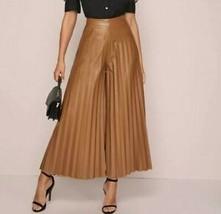 Faux PU Leather High Waist Wide Leg Pleated Loose Culotte Palazzo Pants ... - $57.59