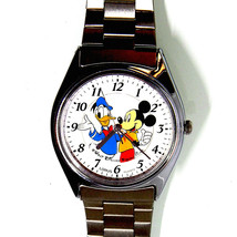 Mickey And Donald Disney Collectable Metal Band Watch Rare Hard To Find ... - $87.96