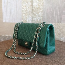 AUTH Chanel 2018 TURQUOISE GREEN LAMBSKIN MEDIUM DOUBLE FLAP BAG SHW image 4