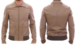 Men's New Latest Fashion Buckskin Beige Goat Leather Bomber Biker Jacket... - $131.00+