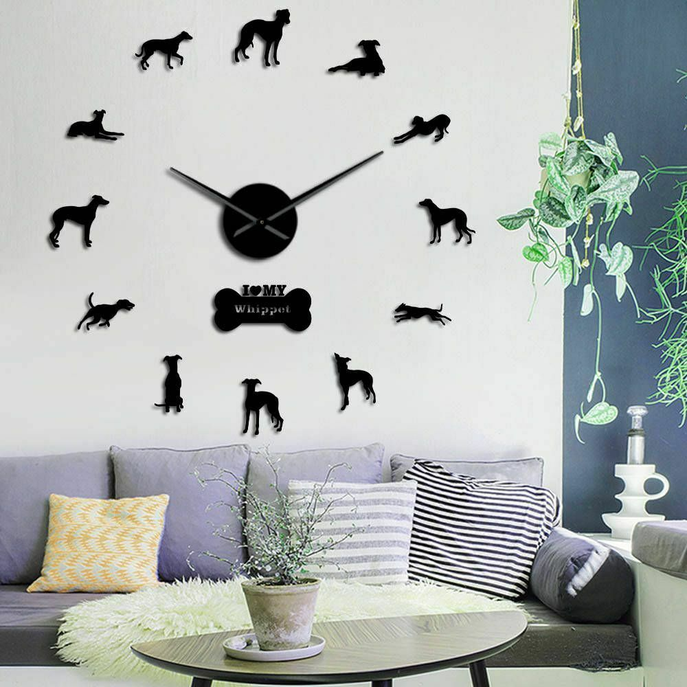 Primary image for Oversized Whippet Dog DIY Wall Clock Italian Greyhound Canine Wall Sticker Decor
