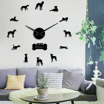 Oversized Whippet Dog DIY Wall Clock Italian Greyhound Canine Wall Stick... - $30.87+
