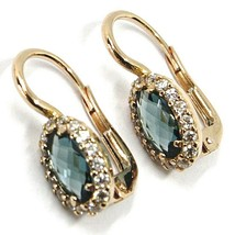 18K ROSE GOLD LEVERBACK FLOWER EARRINGS, OVAL BLUE CRYSTAL, CUBIC ZIRCONIA FRAME image 2
