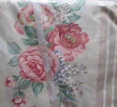 Wamsutta Floral King Flat Sheet Supercale Plus Tan Stripe Pink Roses No ... - $38.65