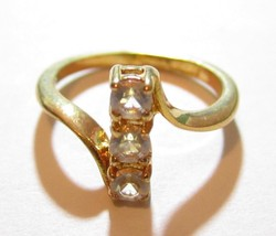 Vintage 14K Ge 3 Stone Cz Pretty Sparkling Espo Yellow Gold Plated Ring*... - $11.24