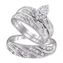 His & Her 14k White Gold Fn 0.32 Ct Marquise Shape Diamond Trio Wedding Ring Set - $148.90