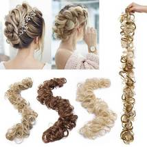 100% Real LARGE Thick Messy Bun Hairpiece NaturalHair Extension Curly image 9