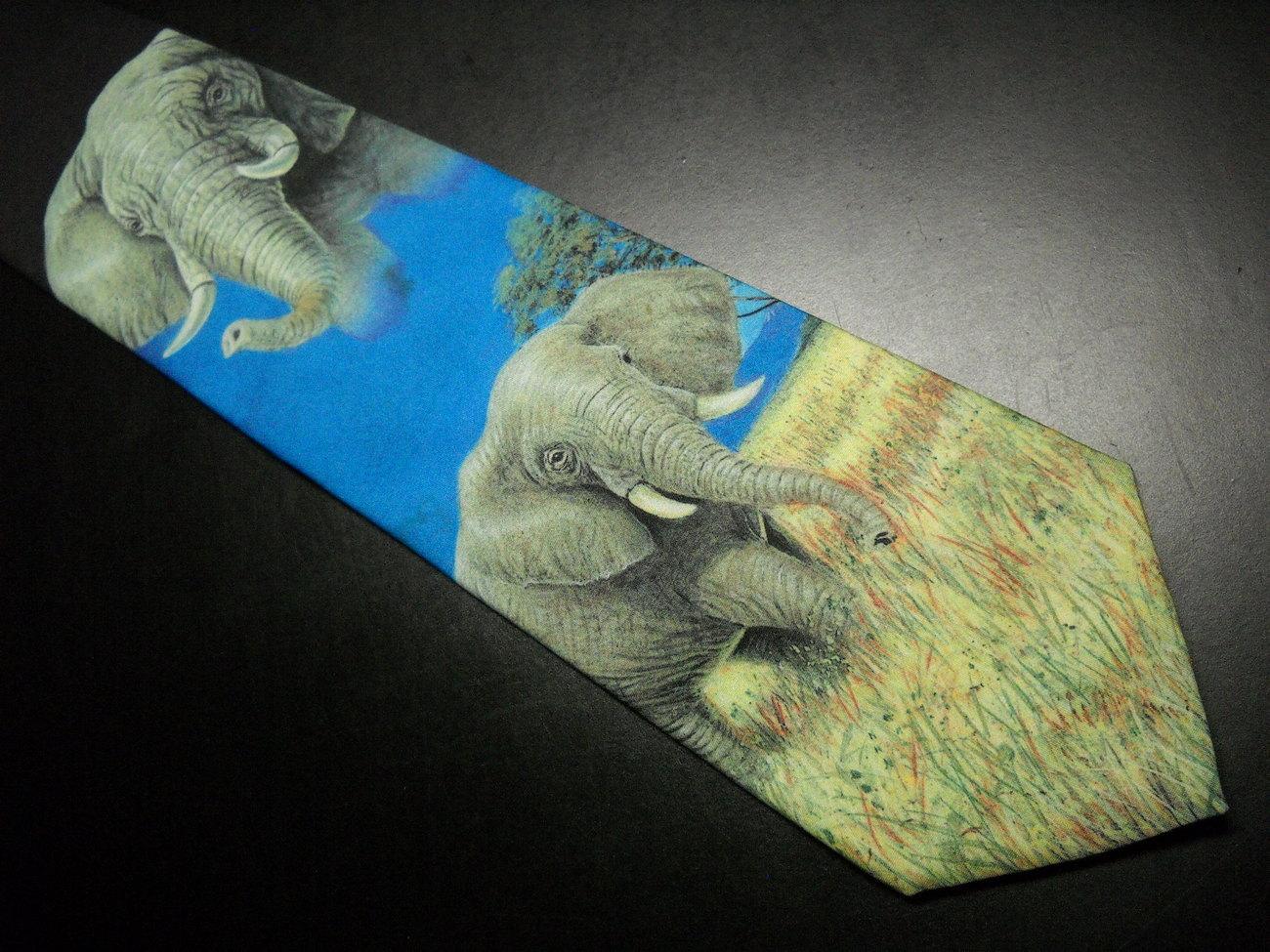 Ralph Marlin Neck Tie Elephants 1999 John F McGee Polyester