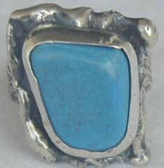 Turquoise pressed stone ring