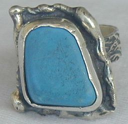 Turquoise pressed stone ring HMTP 250