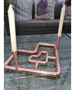 Love Heart with Rings,Copper Pipe Double Candlestick Holder - $32.65