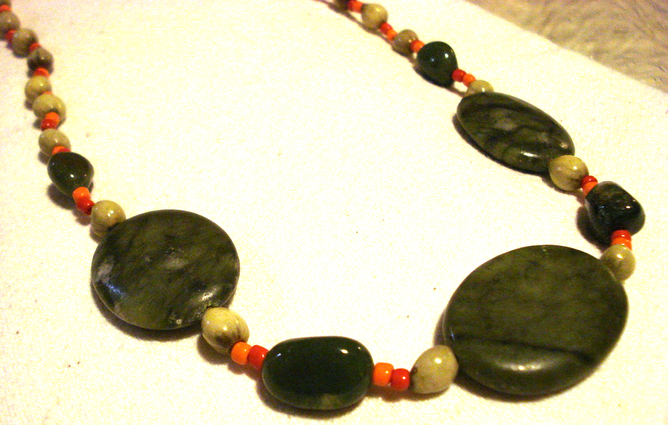 NEW BEAUTIFUL natural stone wood glass necklace adjustable GREENS orange red