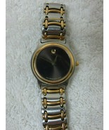 Vtg Movado Museum Ladies Two-Tone Stainless Steel Watch Black Dial 81 E3... - $197.95