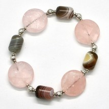 SILVER 925 BRACELET LAMINATED GOLD PINK WITH QUARTZ ROSE AND CHALCEDONY image 1