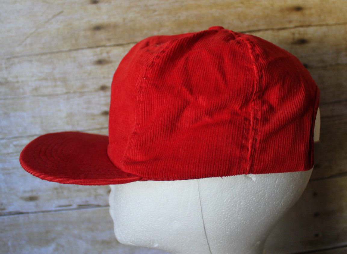 1a34de32881 Vintage 80s Anheuser-Busch BUDWEISER Red Corduroy Promo Cap Trucker Hat NOS