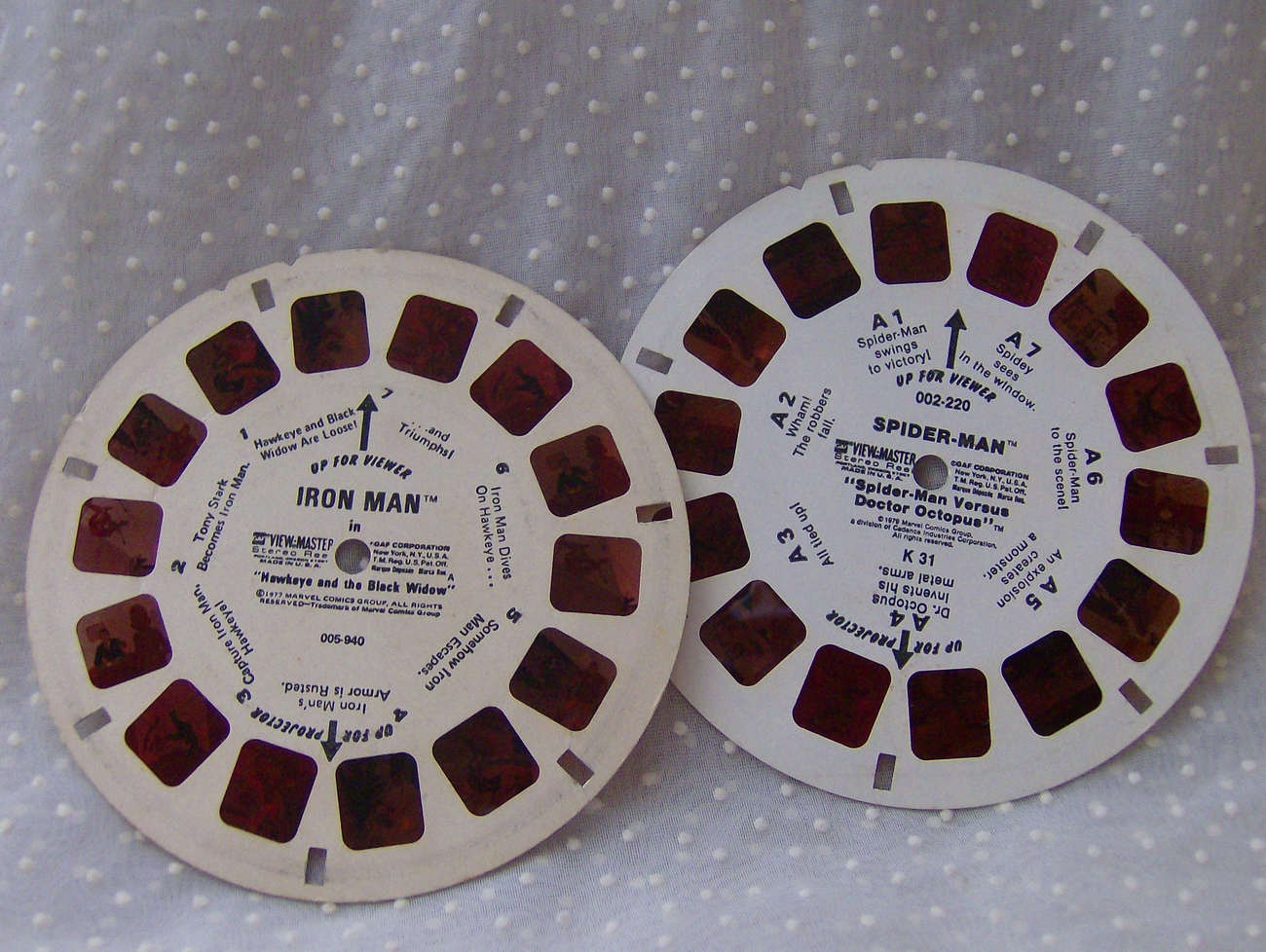 Vintage GAF View Master Reels Spider Man and Iron Man 1970s
