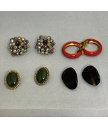 Lot Of 4 Vintage Chunky Clip On Earrings (1799) - $10.00