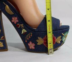 Jessica Simpson Divella Damen High Heels Offen Sandalen Denim Stickerei Größe 7 image 9
