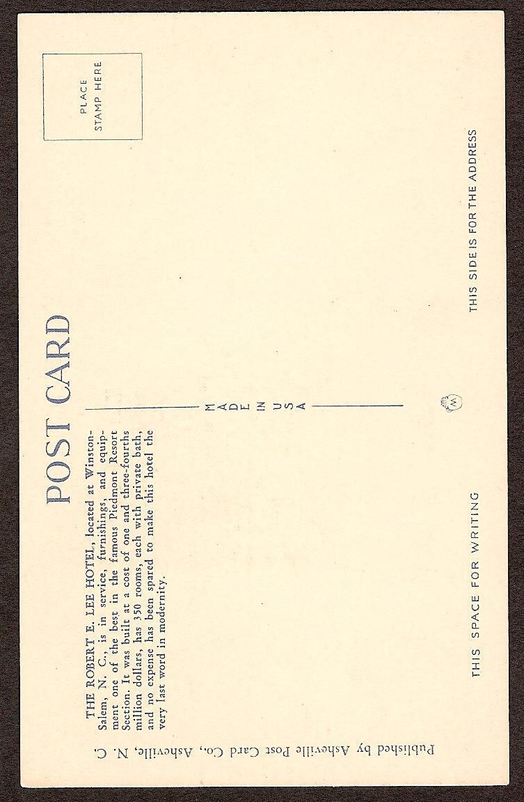Postcard Robert E Lee Hotel Winston-Salem NC unused c1945