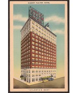 Robert Fulton Hotel Atlanta GA 1940s unused linen divided postcard  - $4.75