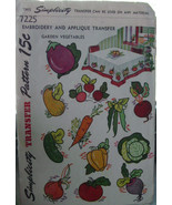 Vintage 1946 Embroidery & Applique Transfers Pattern 7225 Vegetables - $9.99