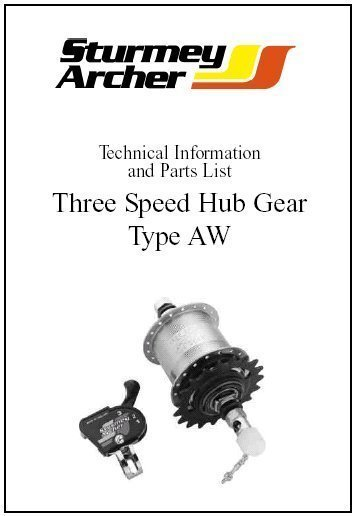 STURMEY ARCHER 3 speed hub Parts and tech info manual