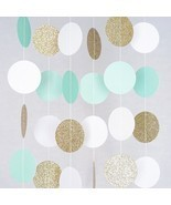 White Mint Gold Glitter Circle Dots Paper Garla... - $5.99
