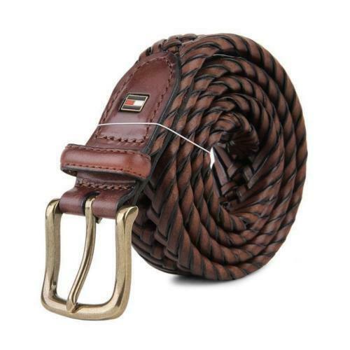 Tommy Hilfiger Men's Premium 32MM Braided Casual Belt Tan 11Tl04X007