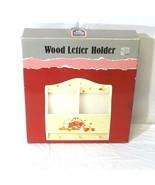 Vintage Wood Letter Holder with Fruit design Home Decor Wall Hanging Wal... - $19.79
