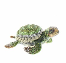 Green Sea Turtle Jeweled Swarovski Crystal Trinket Box Amphibian - £38.01 GBP