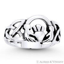 Claddagh Heart Irish Celtic Knot Triquetra Charm Solid .925 Sterling Silver Ring - $24.79