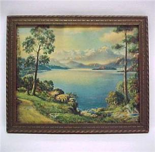 Mountain Daybreak Vintage 1940s Art Litho Print Framed