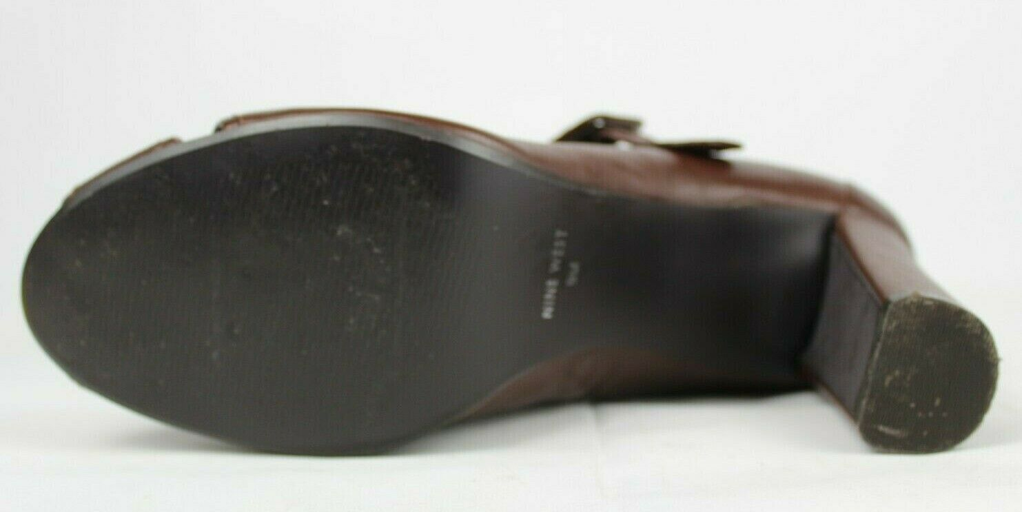 Nine West hey dude Mary Jane heel shoes brown leather upper size 9M