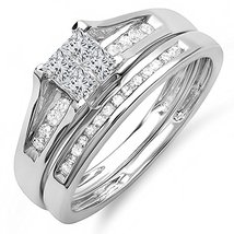 Fancy Rd & Princess White Cz Diamond 14K White Fn Bridal Engagement Ring Set - $95.99